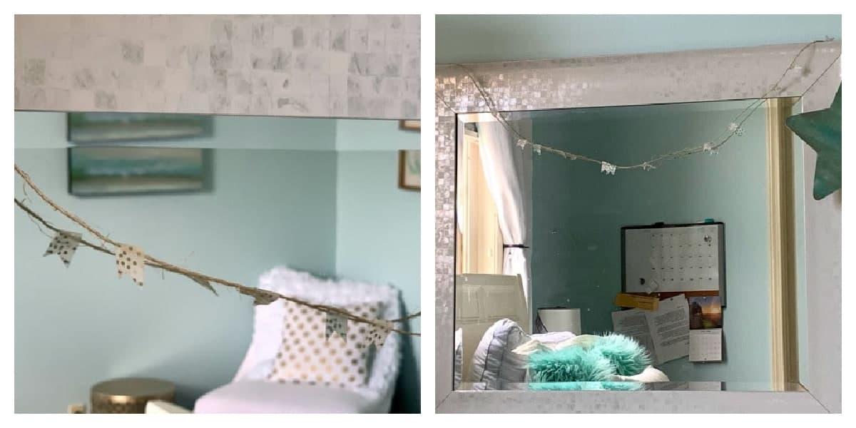 Washi tape on jute twine to decorate teen's mirror.
