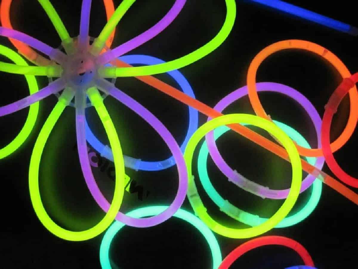 Glow sticks lit up at night.