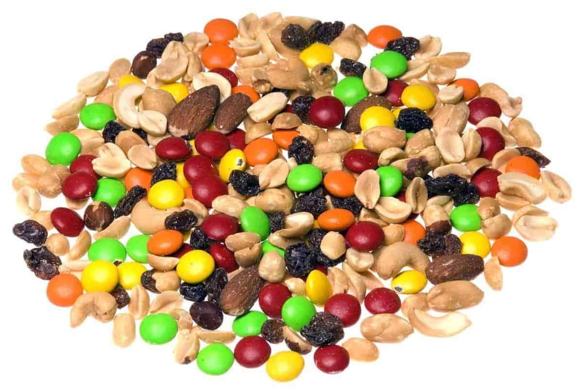 Trail mix on white background.