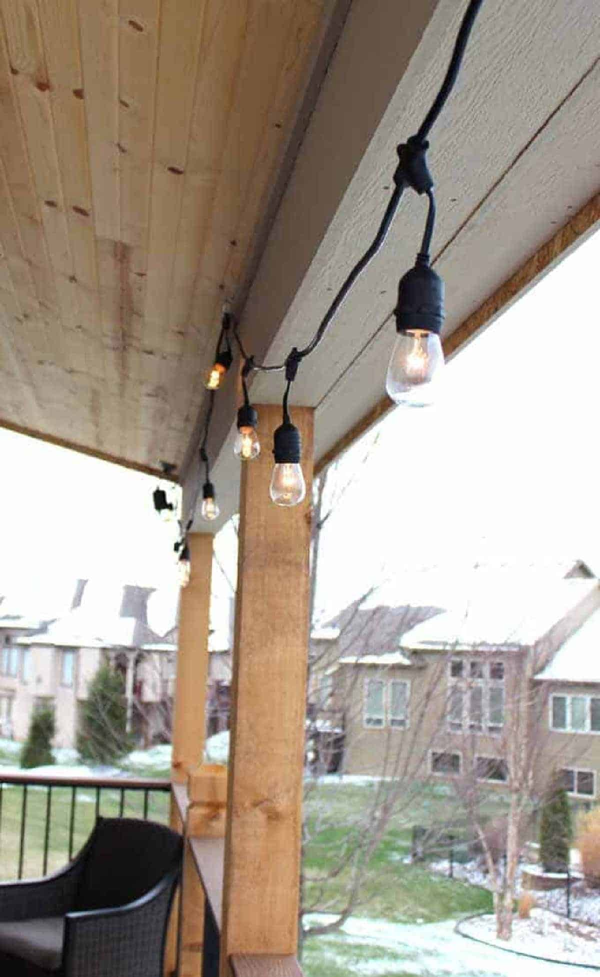 Outdoor string lights on deck during winter months.